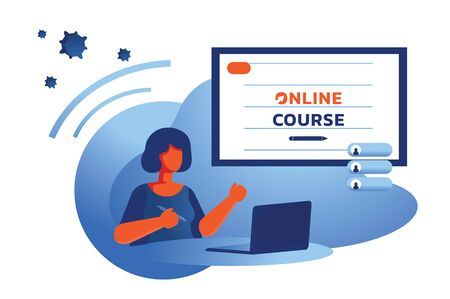 short hair woman learning online course at home vector illustration
