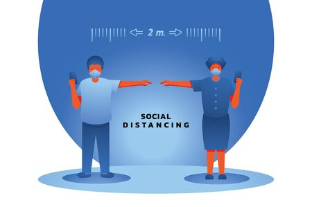 doctor and nurse 2 meters social distancing measure with hand vector illlustration Ilustracja