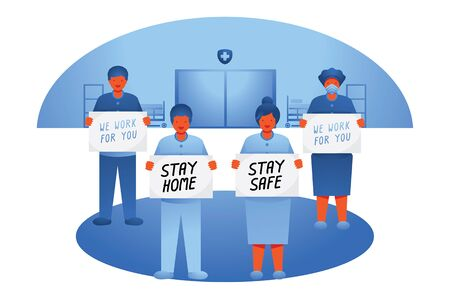 group doctor tell people stay home from hospital vector illustration