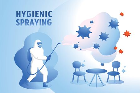cleaning virus in coffee shop with man in hazmat suit hygienic spraying in coffee cafe vector illustration