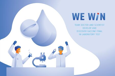 we win and discovered vaccine vector and illustration with team doctor and scientist discovered vaccine in laboratory.