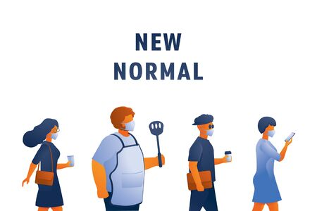 new normal lifestyle with mask vector illustration with office worker and chef hold flipper. Ilustracja