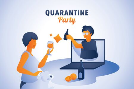 woman and man quarantine party on social network vector illustration.