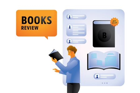 best seller book review on online application with a man with glasses flat illustration Ilustracja