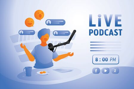 happy man live podcast in home studio with mobile application on internet vector illustration Ilustracja