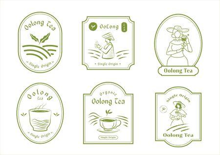single origin tea badge logo design set with English woman farmer harvest,mountain,organic tea,hot tea and ceramic cup