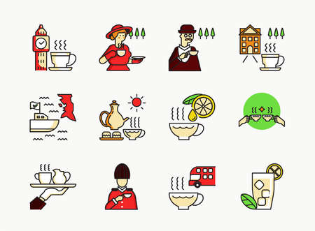 English tea icon set with madame drink tea,officer,double fllors bus,boat shipping,service and clock tower and ice tea. Ilustração