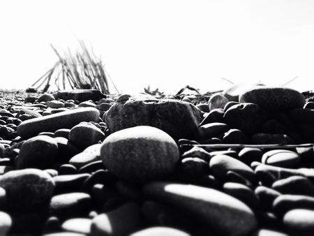 stoney: Black and white stoney beach  Stock Photo