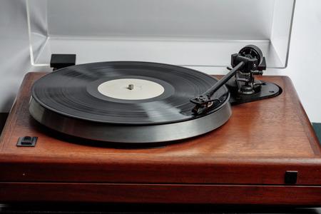hifi: LP on hi-fi turntable Stock Photo