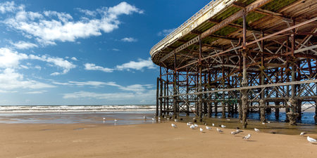 looking out towards the Irish sea, alongside the end of centtral pier blackpool