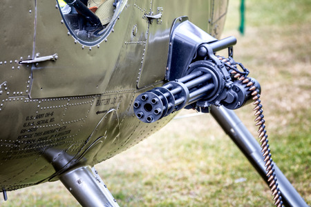 destructive: machine gun and bullets on a helicopter
