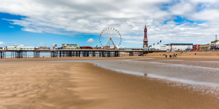 a view from blackpool beach looking north towards central pier and the tower