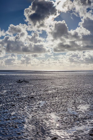 a bicycle lies on its side on a beach at low tide Imagens