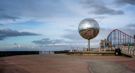 the south end of blackpool looking north, glitter ball, south pier, pleasurebeach and tower in view