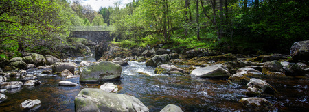 a Bridge over a boulder filled river in the southwest os Scotland, Glentrool Imagens