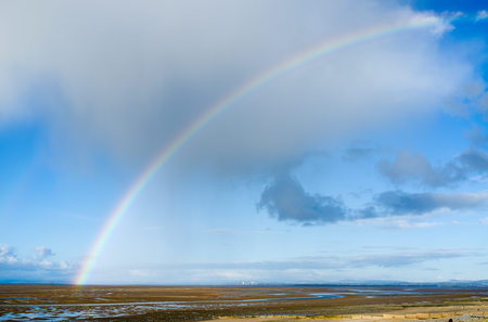 A rainbow over the beach at Rossal Point, Lancashire UK