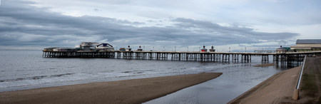 looking north from the prom towards Blackpool North pier on a cold winter sunday afternoon
