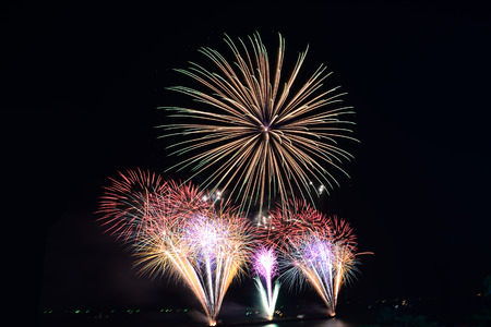 Fireworks light up the sky new year event, Thailand Stock Photo