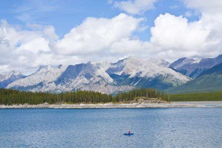 Fisherman on Lake in Mountains Stock Photo - 9692133