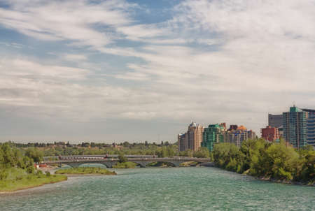 View of the Bow River and three bridges in Calgary Stock Photo