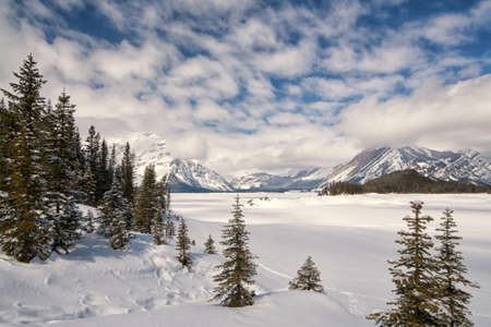 Canadian Rocky Mountains in Winter.  Snow covered Upper Kananaskis Lake. Stock Photo - 15157123