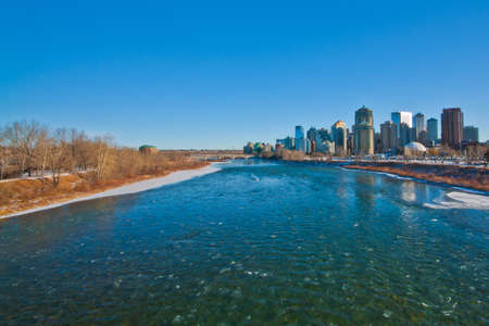 Icy Bow river with Calgary city in the background  Stock Photo - 15524504