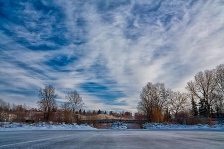 Winter landscape of an outdoor skating rink  Stock Photo - 15524777