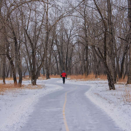 Man in red coat walking on a winter pathway in the woods  Stock Photo - 15524696