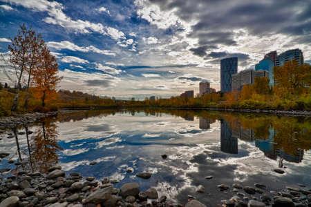 HDR of Calgary City Reflections Stock Photo
