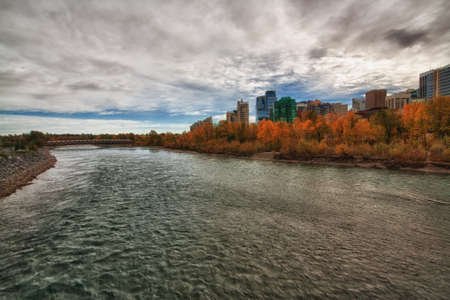 Calgary city high definition range image with the Bow River and autumn colors. Stock Photo