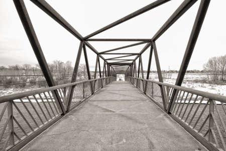 Sepia trestle bridge in winter