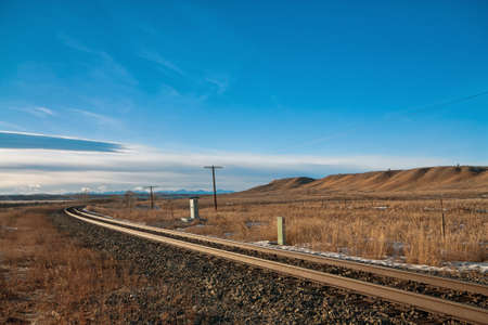 Curvy train tracks in the prairie  Stock Photo - 18365950