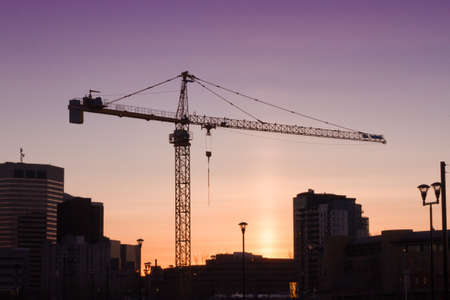 Construction sunset in the city of Calgary