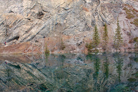 Grassi Lake landscape in Kananaskis with beautiful reflections