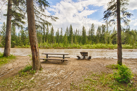 Damaged picnic area beside the Bow River after the 2013 Calgary flood.