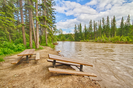 flood area: Damaged picnic area beside the Bow River after the 2013 Calgary flood.