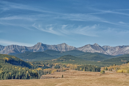 Mountain range landscape of autumn in the Sheep River Valley