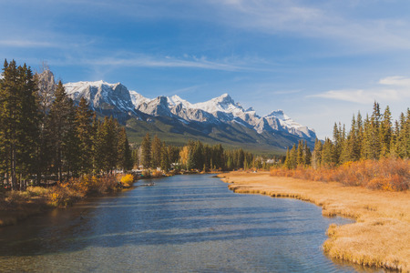 canmore: Mountain range landscape of autumn in the Sheep River Valley