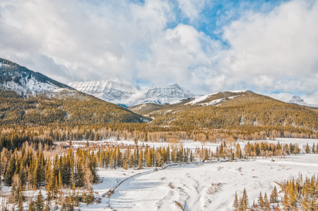 Landscape of Mt. Armstrong in the Rocky Mountains in Kananaskis, Alberta. Stock Photo