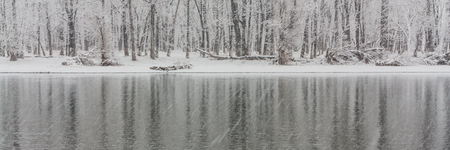 A panorama landscape of cold stark trees in a snow storm reflecting in a river.