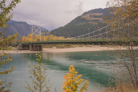 Autumn landscape of the Columbia River Bridge in Revelstoke.