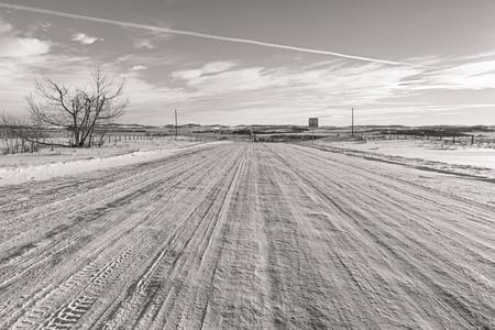 Monochrome landscape of a snowy back road in the prairie, Alberta, Canada.