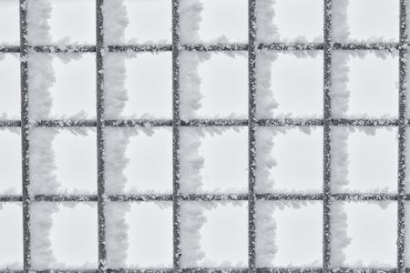 hoar frost: Macro of hoar frost on a wire fence, Canada.