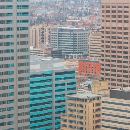 buidings: View from a highrise window of many office buildings in Calgary, Alberta.