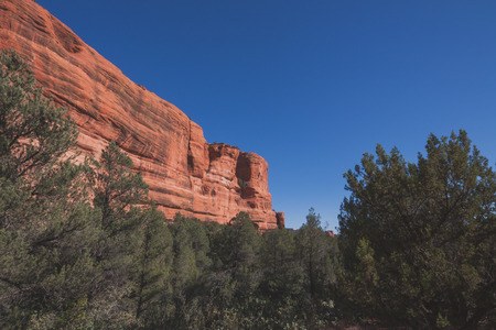 Landscape of a red rock cliff formation in Sedona, Arizona Stock Photo
