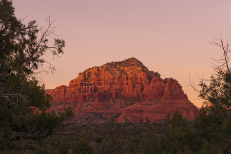 Landscape of a tree framed red rock mountain in Sedona, Arizona. Stock Photo