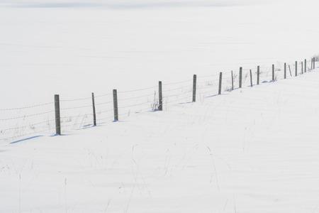 Minimialistic fence line, diagnal in fresh white snow.
