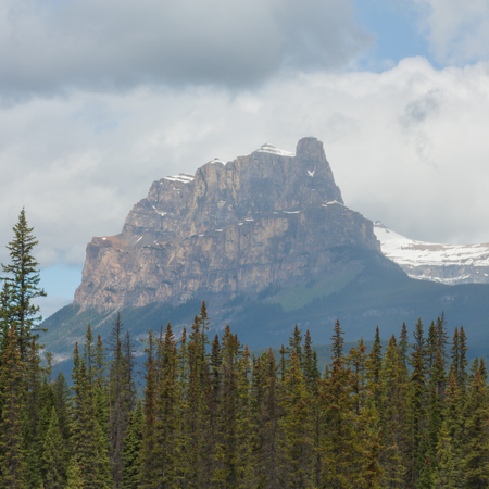 Square Castle Mountain landscape on a cloudy day with trees in the foreground. Stock Photo