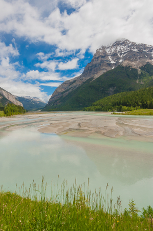 Landscape of Mount Stephen with the Kicking Horse river in the foreground. Stock Photo