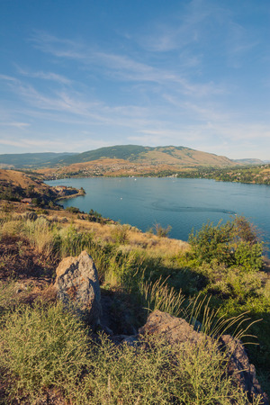 Landscape of Kalamalka lake looking towards Vernon, British Columbia.